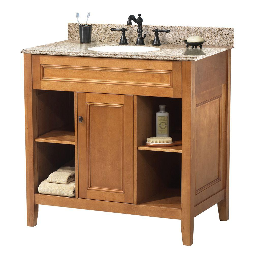 Home Decorators Collection Exhibit 31 In W X 22 In D Bath Vanity In Rich Cinnamon With Granite Vanity To Granite Vanity Tops Marble Vanity Tops Vanity Combos