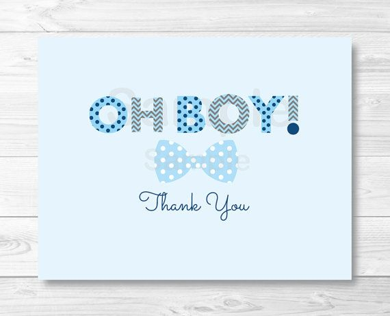 Oh Boy Bow Tie Folded Thank You Card Template \/ Little Man Baby - thank you card template