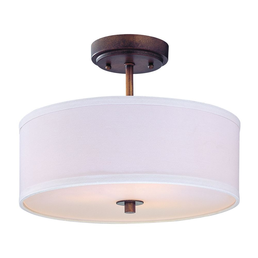 Semi Flush Light With White Drum Shade 14 Inches Wide Dcl 6543 604 Sh7483 K Flush Mount Ceiling Light Fixtures Semi Flush Ceiling Lights Drum Ceiling Lights
