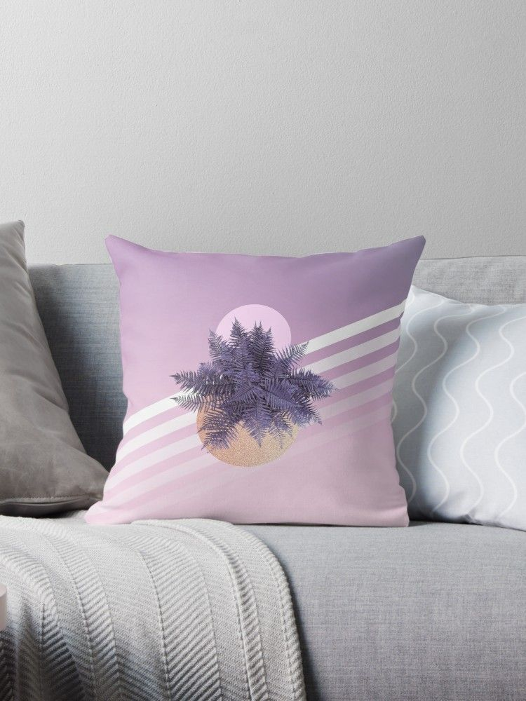 Pop Moon Fern On Violet And Pink Ombré With Stripes Throw Pillow By Dominiquevari Stripe Throw Pillow Throw Pillows Pillows