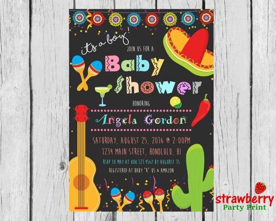 Mexican Fiesta Baby Shower Invitation For A Girl or Boy Mexican - fresh birthday invitation baby girl