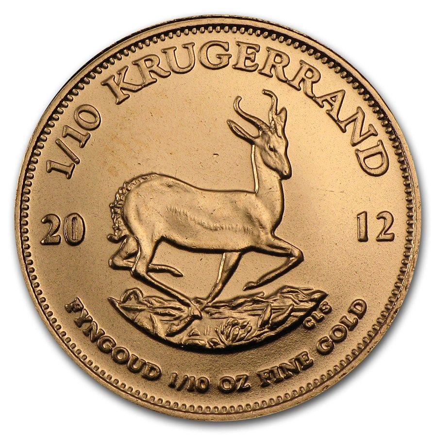 2012 South Africa 1 10 Oz Gold Krugerrand 1 10 Oz Gold Krugerrands Apmex Gold Krugerrand Gold Bullion Coins Gold Coins Money