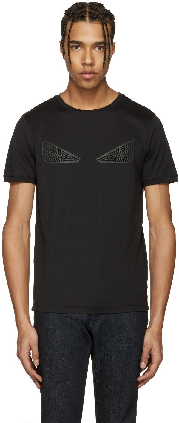 c44b6d1e FENDI Black Studded 'Bag Bug' T-Shirt. #fendi #cloth #t-shirt ...