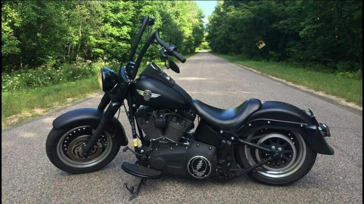 Black out fatboy with ape hangers | Harley | | Pinterest ...
