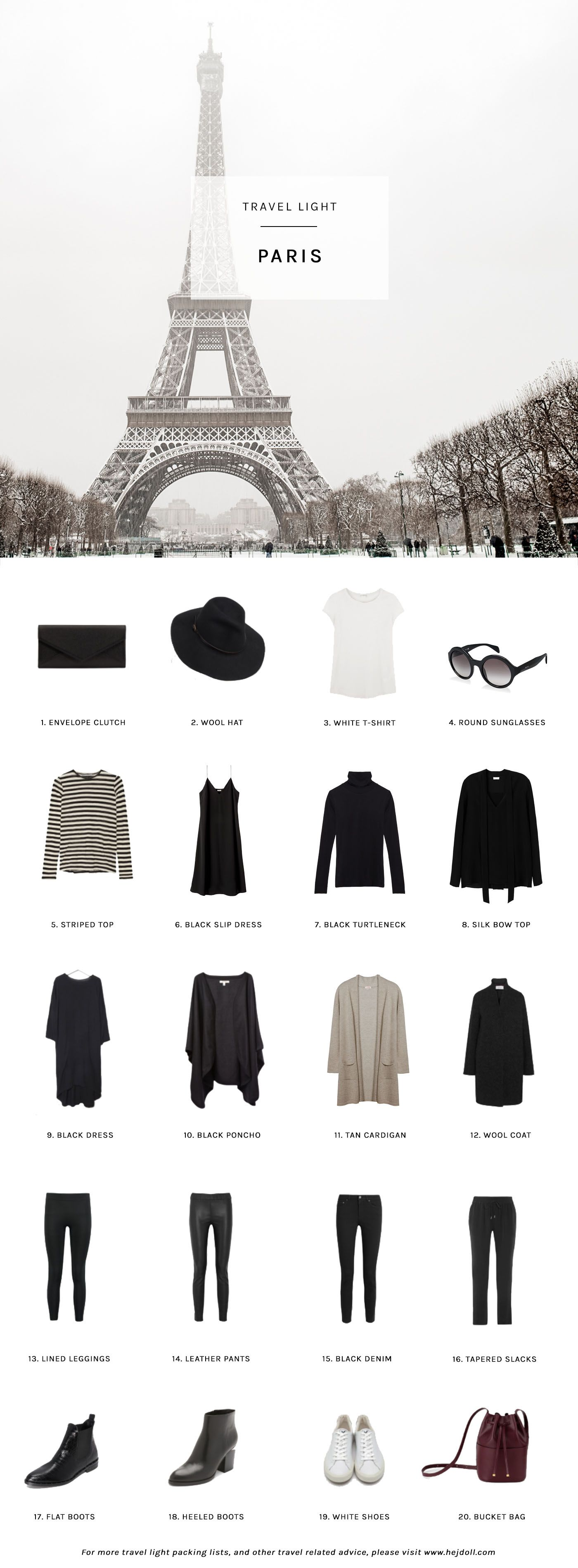Travel Light Pack For Winter In Paris 20 Items 10 Outfits 1 Carry On