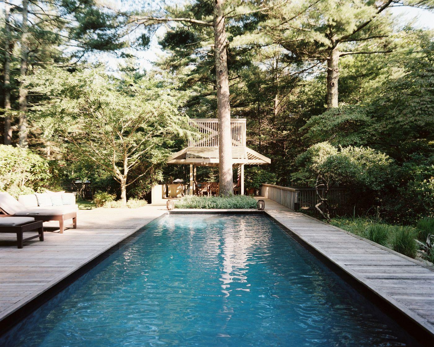 wood decking surrounding pool
