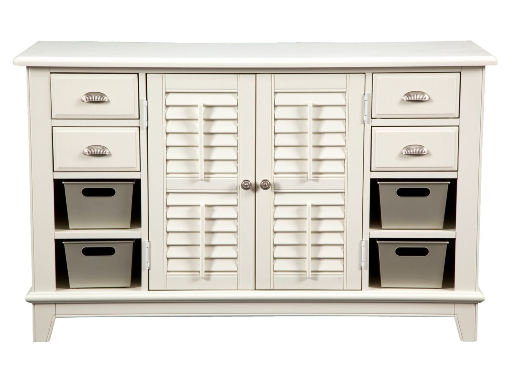 Plantation Cove White Console Table With Tin Bins   Value City Furniture