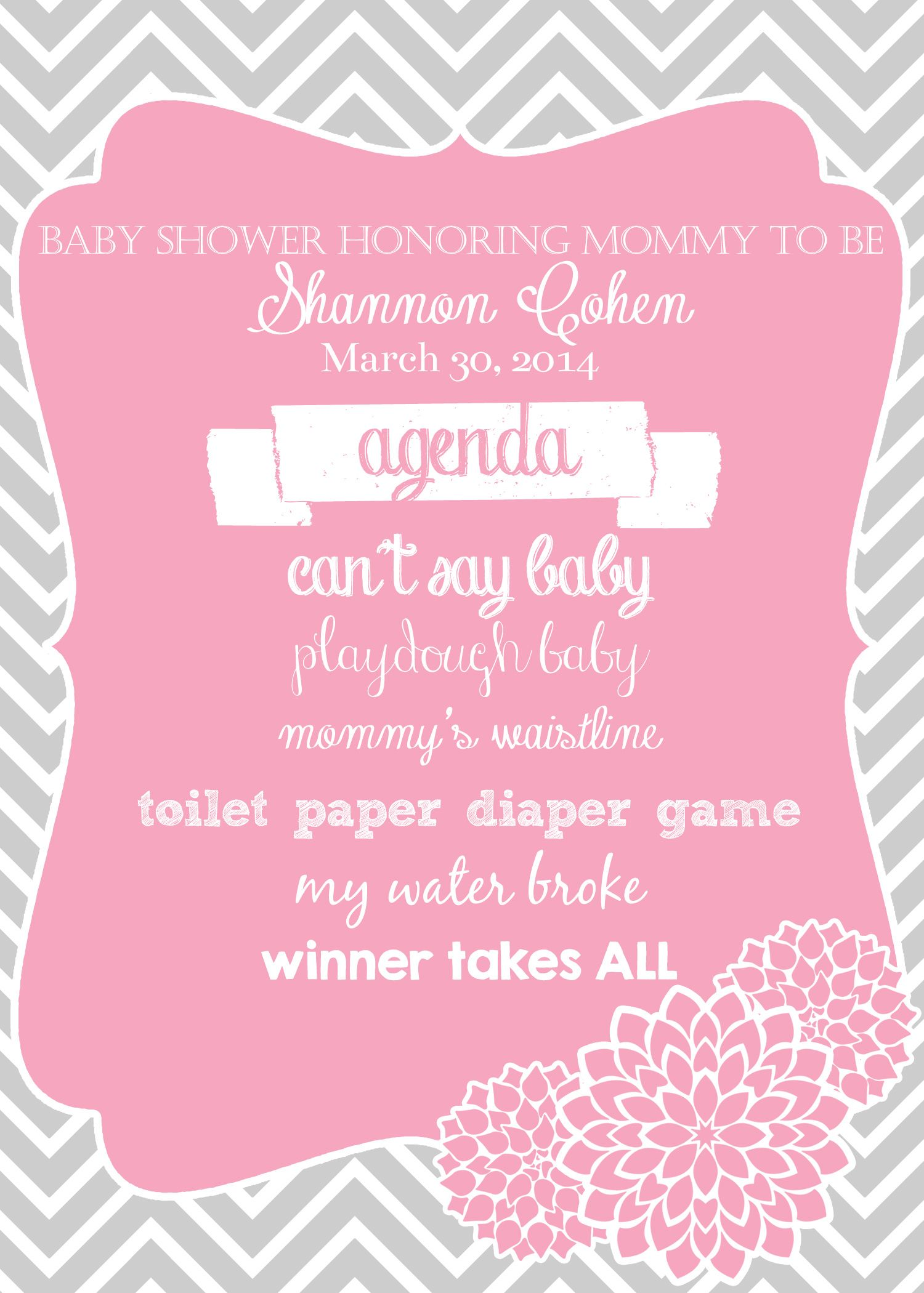 Camellia Events 14 West Graphics Baby Shower Agenda Pink And Gray