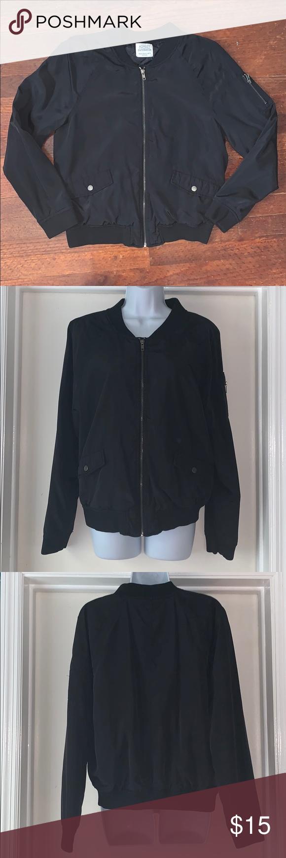 Ashley Outerwear Black Bomber Jacket Size Medium Black Bomber Jacket Clothes Design Black Bomber [ 1740 x 580 Pixel ]