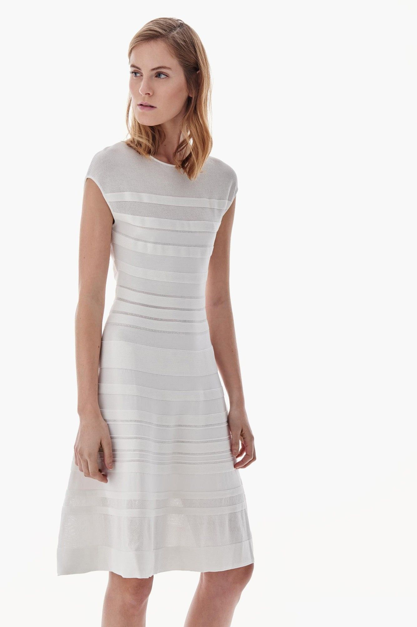 mas bajo precio baratas calidad Vestido blanco de punto | Adolfo Dominguez shop online ...