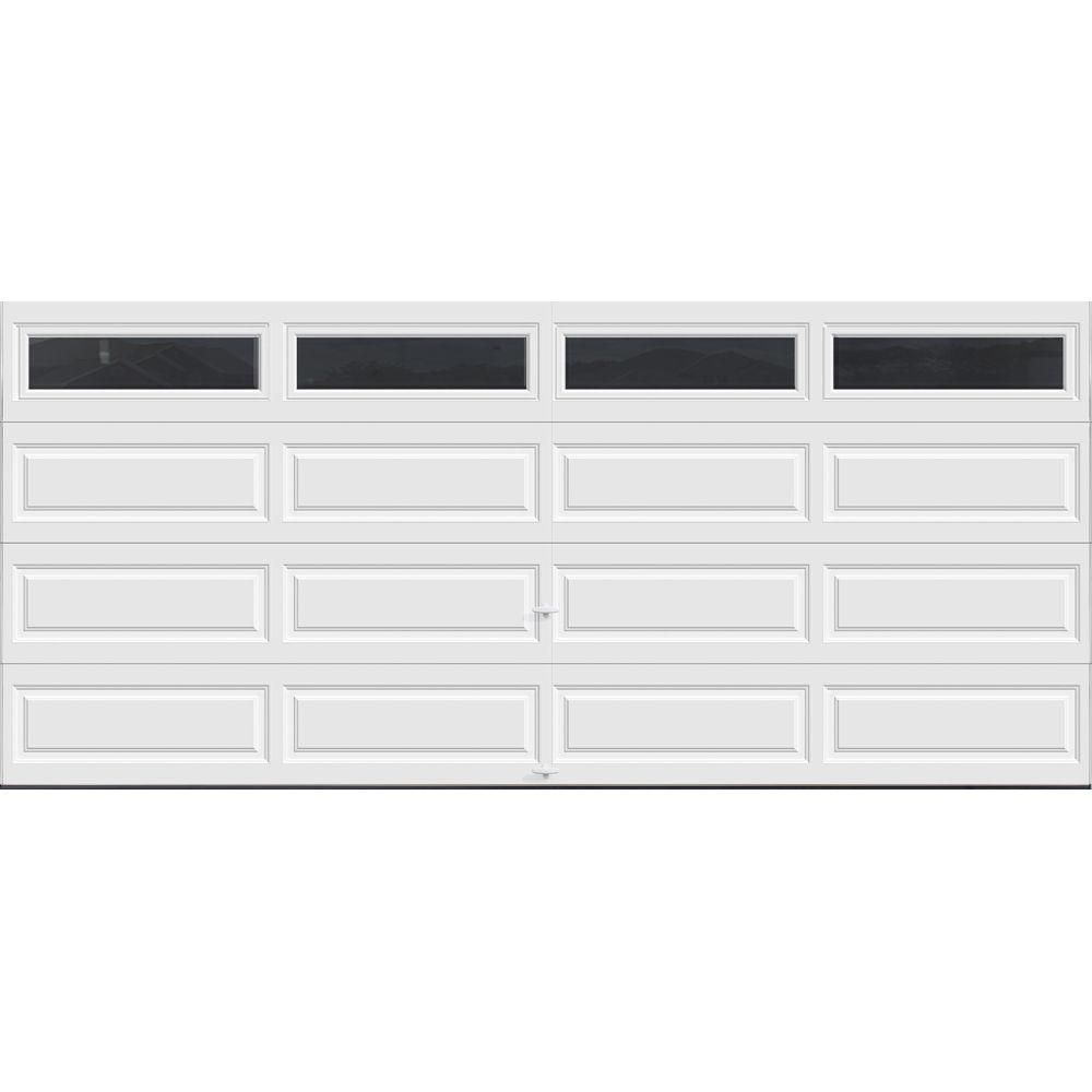 Clopay Classic Collection 16 Ft X 7 Ft 12 9 R Value Intellicore Insulated White Garage Door With Windows Exceptional Hdpl13 Sw Plain The Home Depot In 2020 Garage Door Windows White Garage Doors Garage Doors