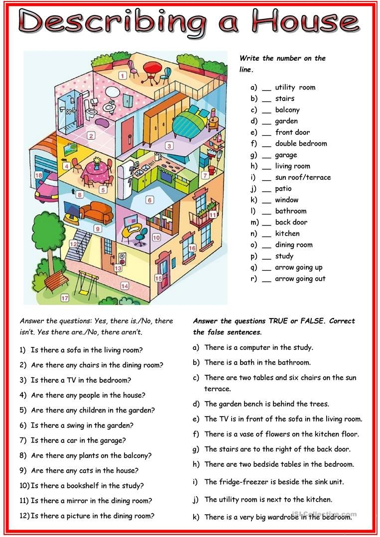 Picture description: House worksheet - Free ESL printable worksheets made  by teachers   English lessons for kids [ 1079 x 763 Pixel ]