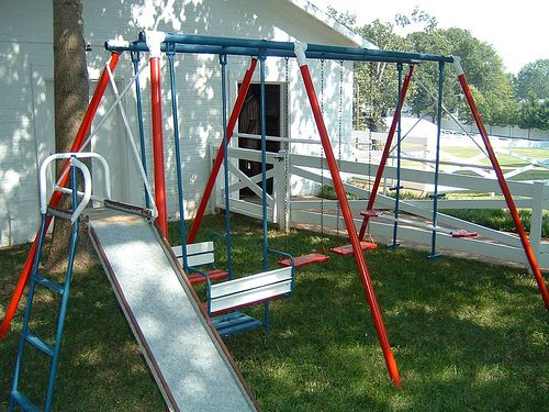 A Frame Metal Swing Set Yes Just Like This But Blue And White