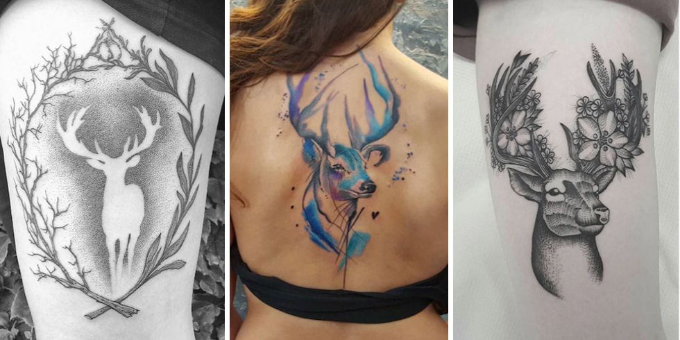 45 excellent stag tattoo designs and ideas. Black Bedroom Furniture Sets. Home Design Ideas