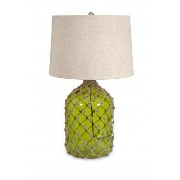 Farlane Green Glass with Jute Table Lamp