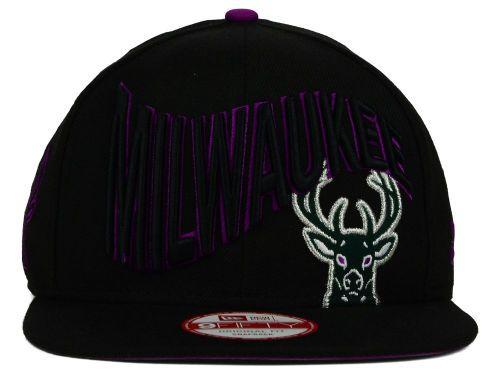 official photos 52a6a 06492 Milwaukee Bucks New Era NBA HWC Neon Wave 9FIFTY Snapback Cap Hats