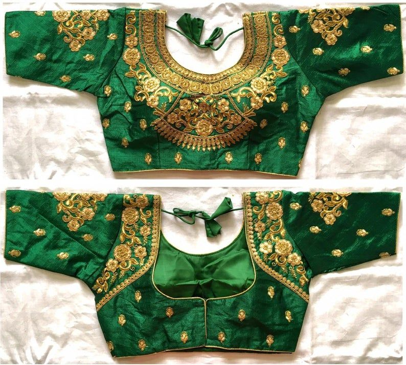Readymade New Poly Raw Silk Wedding Saree Stitched Rajasthani Blouse Crop Christmas Party Wear Sari Top For Women