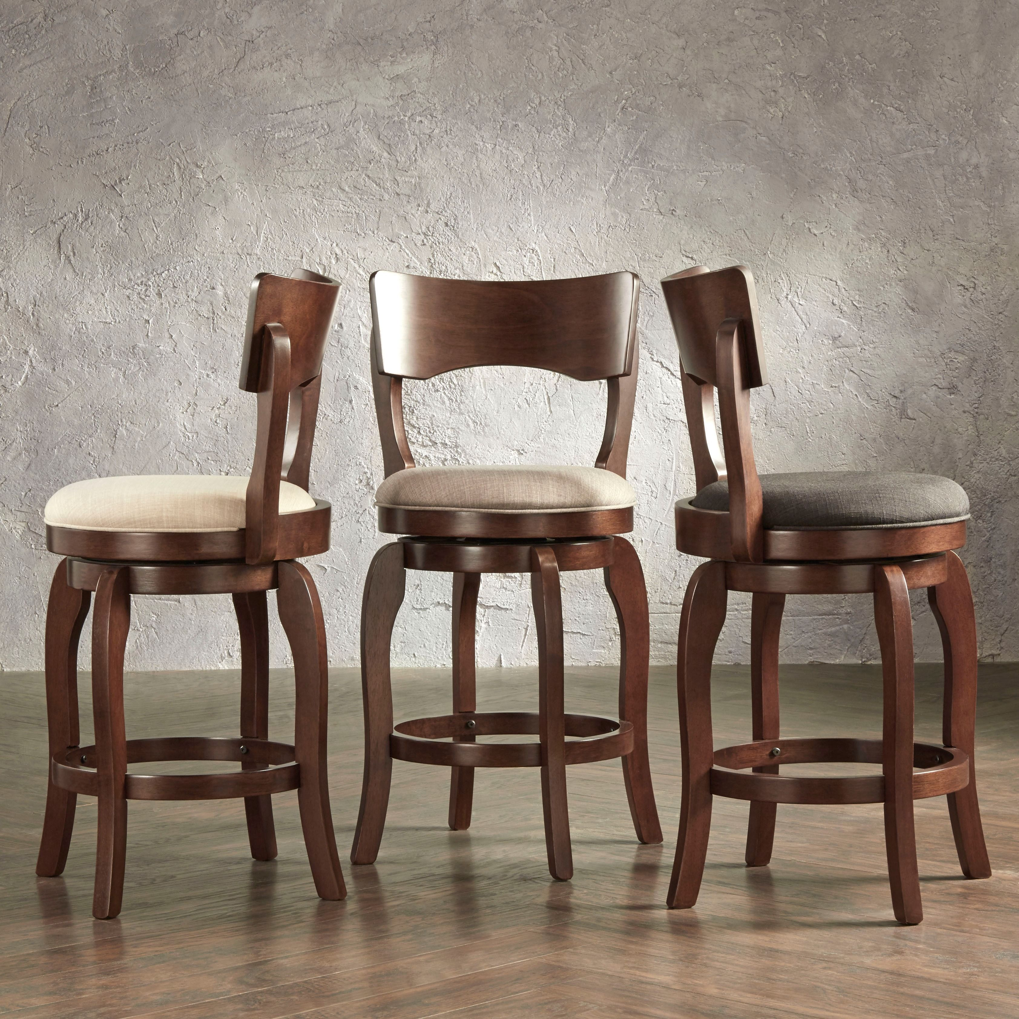 Lyla Swivel inch Brown Oak Counter Height Linen Barstool by TRIBECCA HOME by Tribecca Home