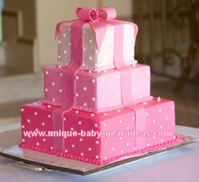 elegant pink and white polka dot three layer gift box baby shower, Baby shower invitation