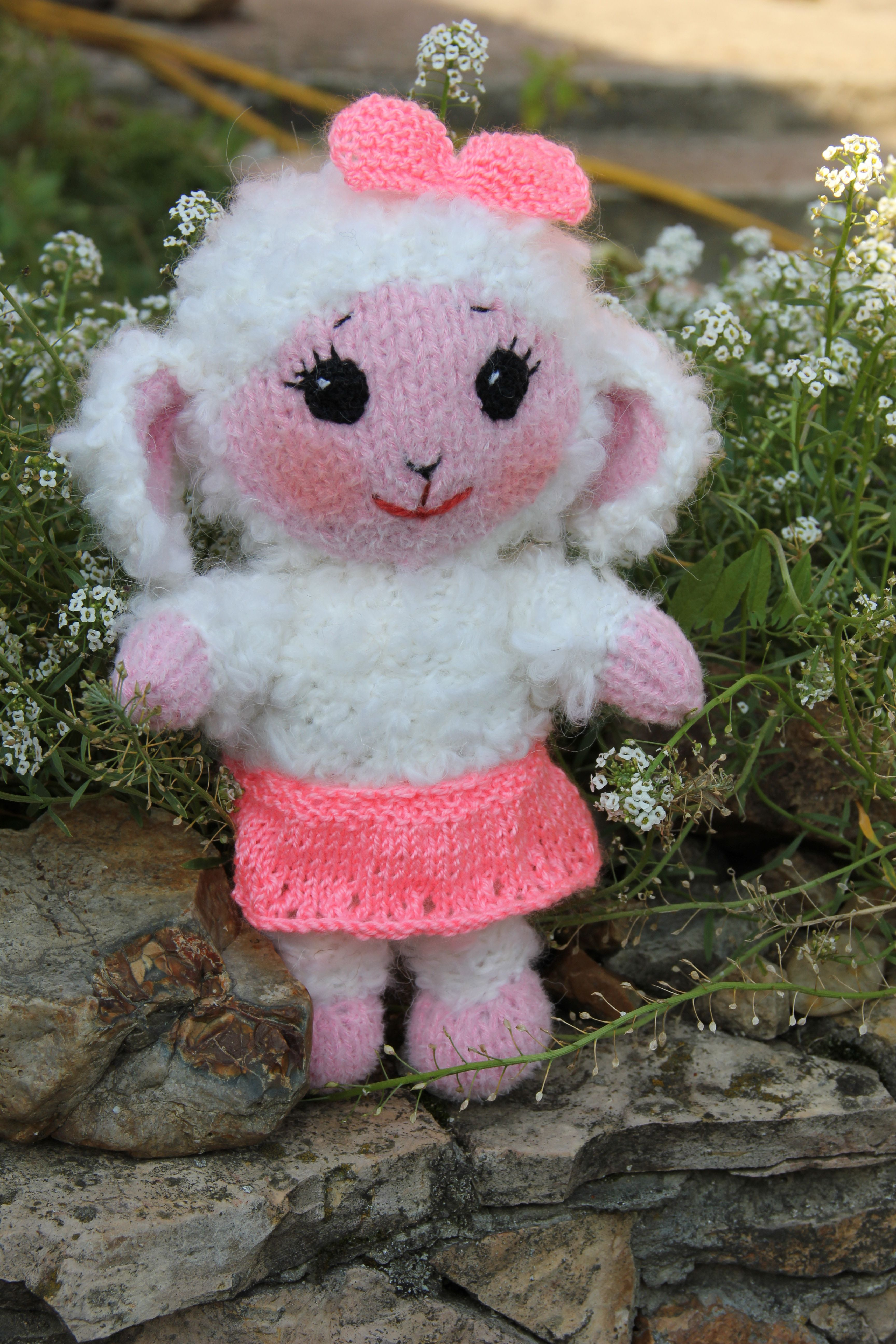 Cute lamb stuffed animal Baby girl gift lambKnitted plush