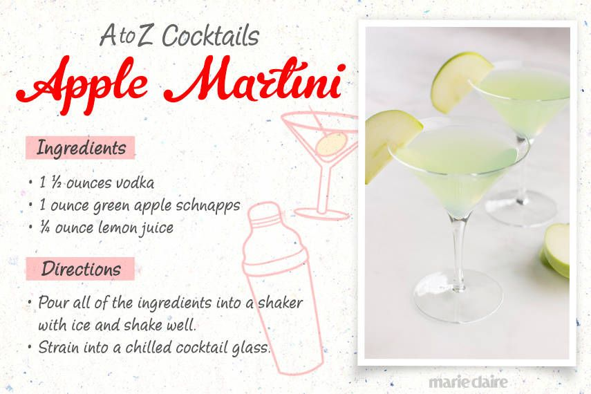 A is for Apple Martini...and 25 other things you definitely didn't learn in Kindergarten...(25) adult beverge recipes on this web site.