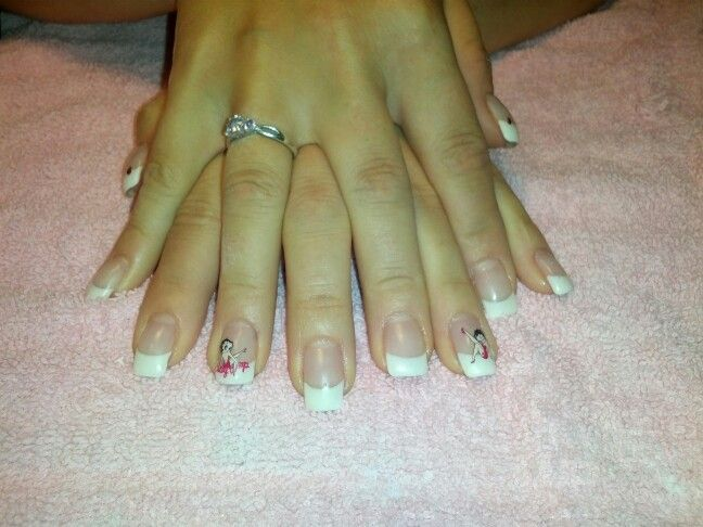 Gel nails white tips with Betty Boop stickers!