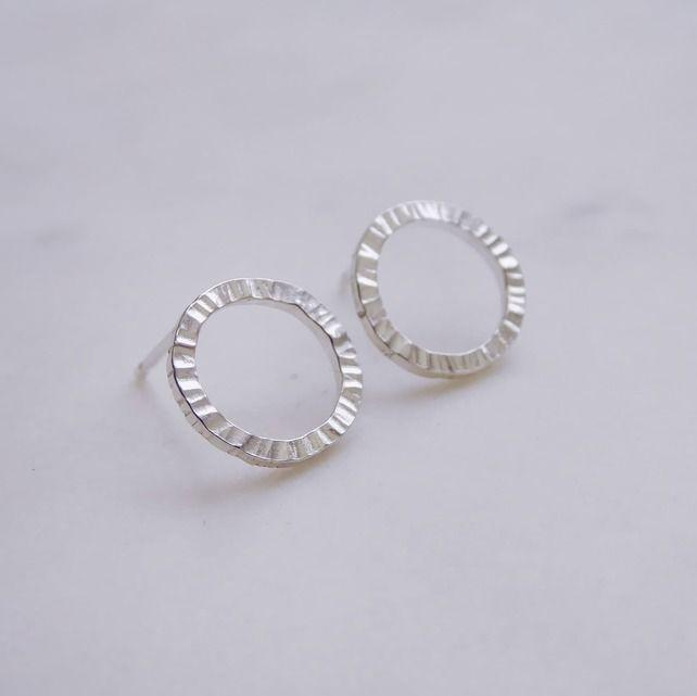 Sterling Silver Textured Handmade Circle Ridge Stud Earrings Sterling Silver Textured Handmade Circle Ridge Stud Earrings