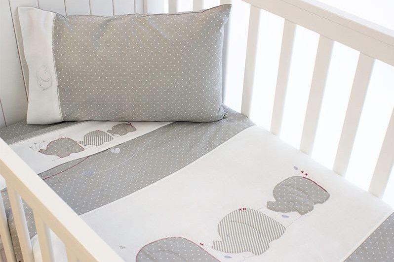 Popular Bubba Blue Petit Elephant 6 Piece Cot Bedding Gift Basket