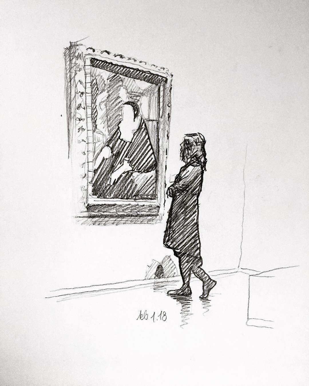 Frau im Museum, betrachtend IX. #Sunday #sonntag #trip #Drawing ...