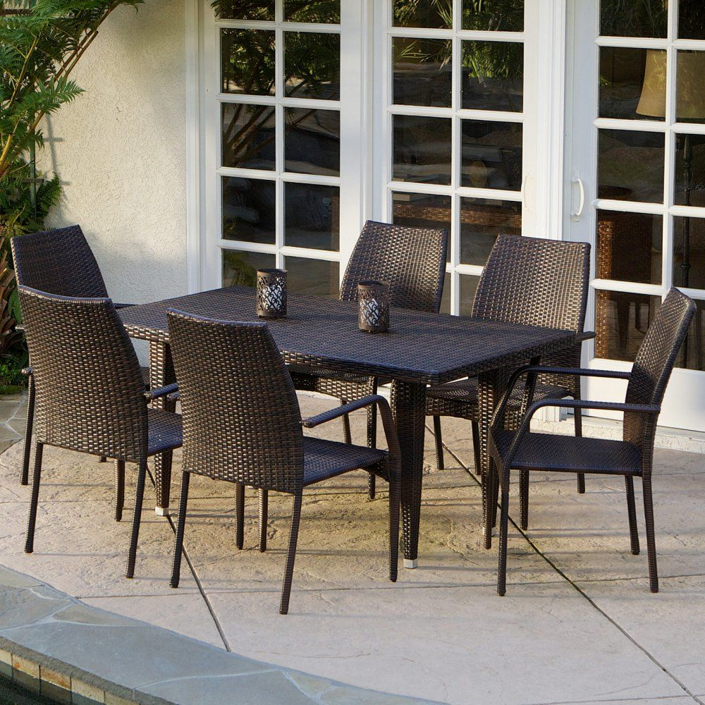 "Canoga All-Weather Wicker Patio Dining Set - Seats 6 - With the Canoga All-Weather Wicker Patio Dining Set - Seats 6, ""eating out"" takes on new meaning; skip the crowds and dine on homemade gou..."