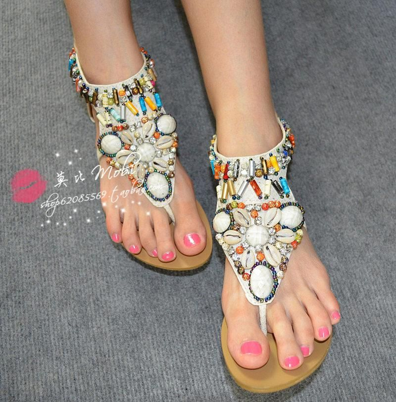 >> Click to Buy << The new national style Bohemia shells diamond colorful beads ShanZuan Roman flat sandals #Affiliate