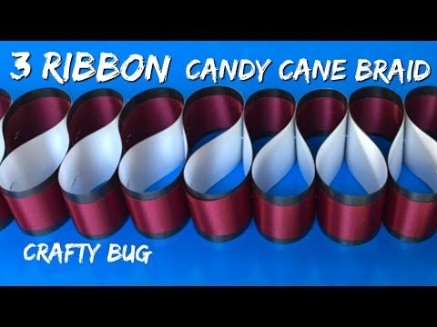 3 RIBBON CANDY CANE BRAID TUTORIAL; homecoming mum braids and chains