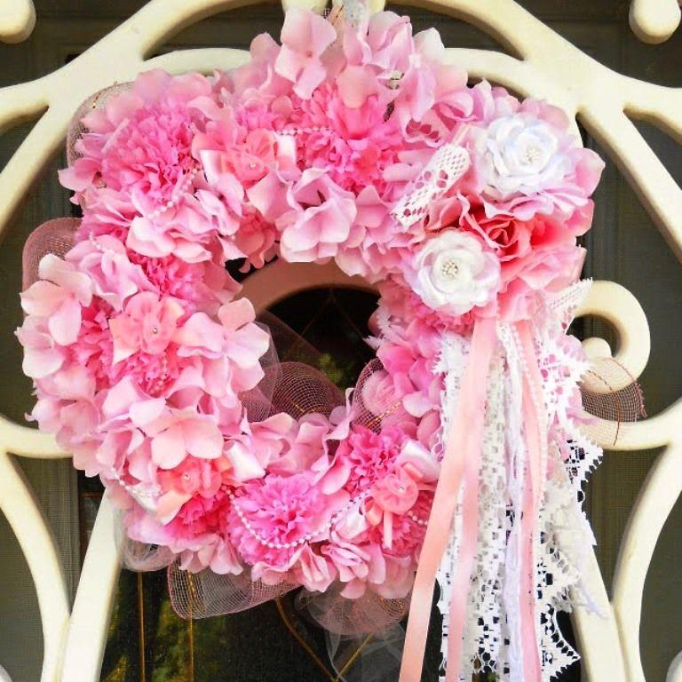 Shabby chic pink door wreath