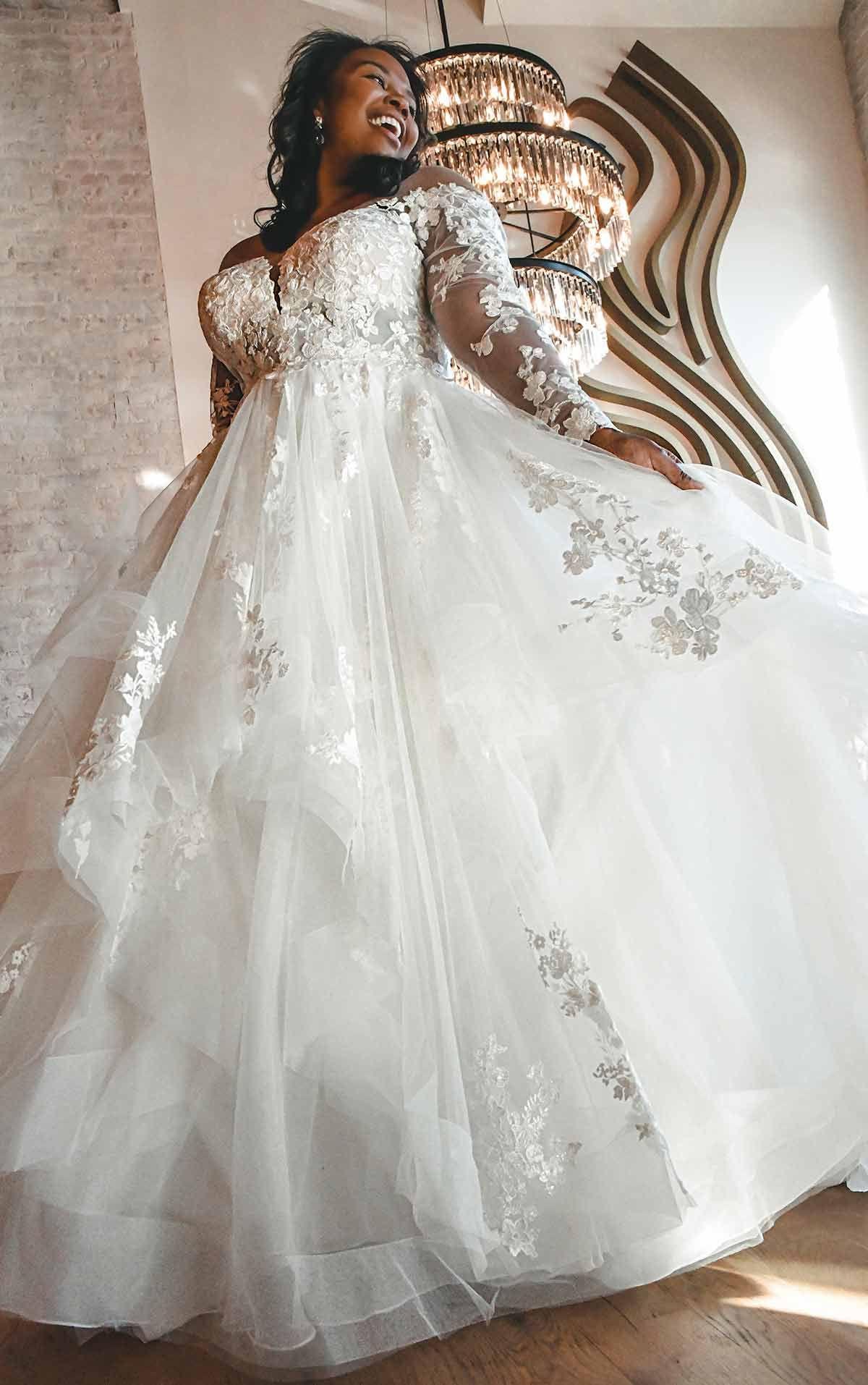 Off Shoulder Lace Plus Size Ballgown With Tiered Skirt Essense Of Australia Wedding D In 2021 Essense Of Australia Wedding Dresses Wedding Dresses Plus Size Ballgown [ 1914 x 1200 Pixel ]