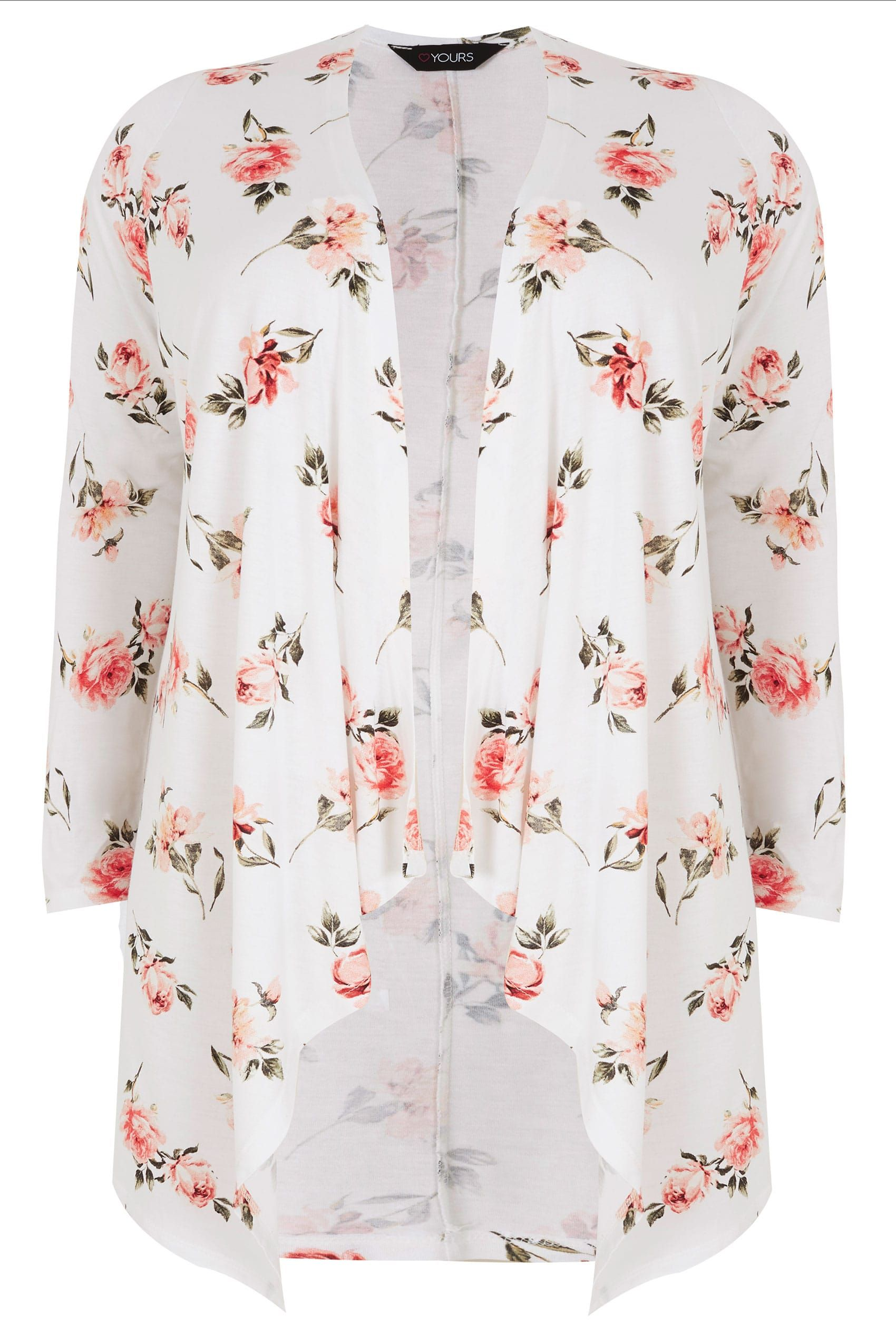 12fbb7a54401ad White & Pink Floral Print Longline Waterfall Cardigan, plus size 16 to 36