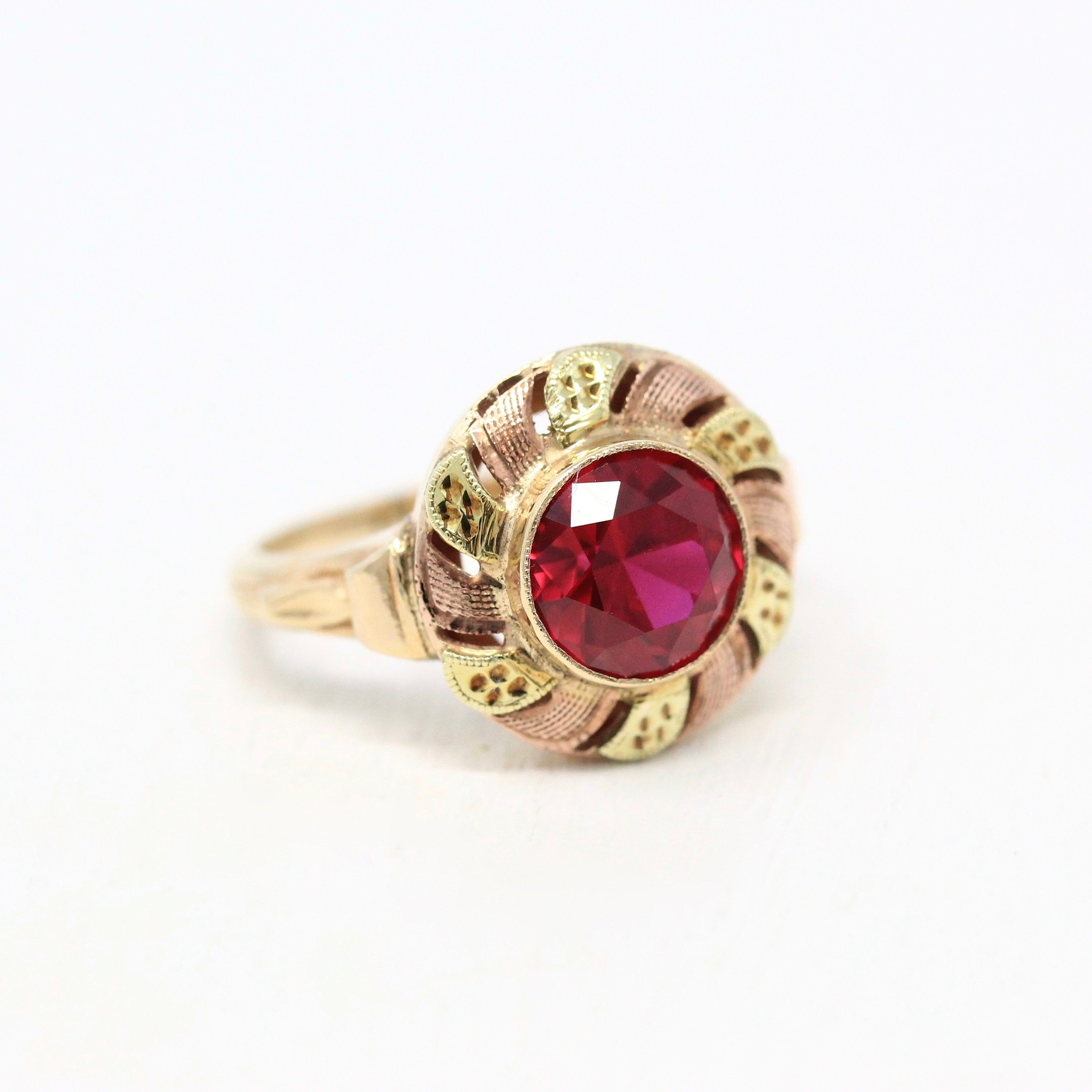 Created Ruby Ring Vintage 10k Yellow Rose Gold Red Stone Statement 1940s Size 6 Retro July Birthstone 2 31 Carat 40s Gift Fine Jewelry In 2020 Ruby Ring Vintage Fine Jewelry July Birthstone