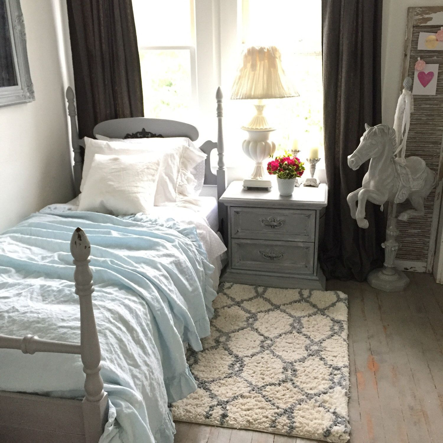 Twin Size Bed Frame French Provincial Shabby Cottage Chic ...