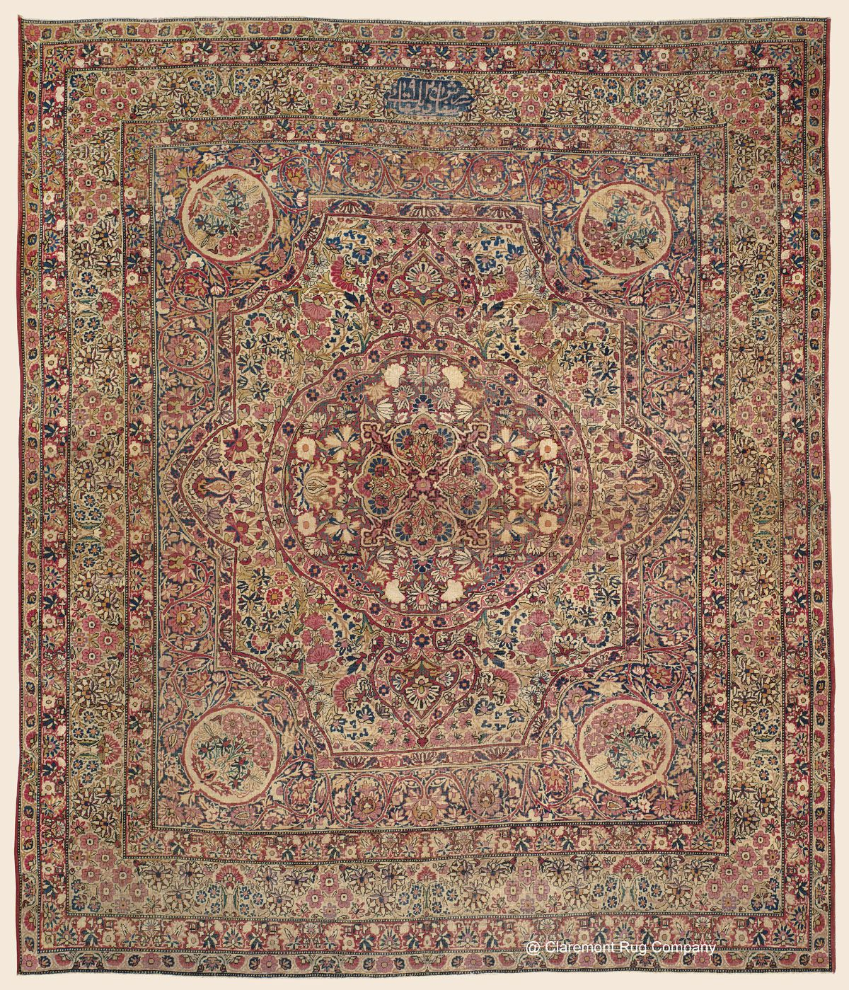 Laver Kirman Signed Dilmaghani 8 10 X 10 5 3rd Quarter 19th Century Southeast Persian Antique Rug Claremont Persian Carpet Rug Company Antique Rugs