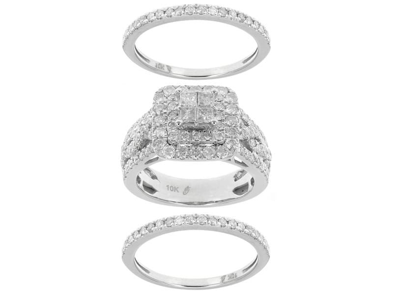 2.00ctw Princess Cut And Round Diamond 10k White Gold Bridal Ring With Two Band