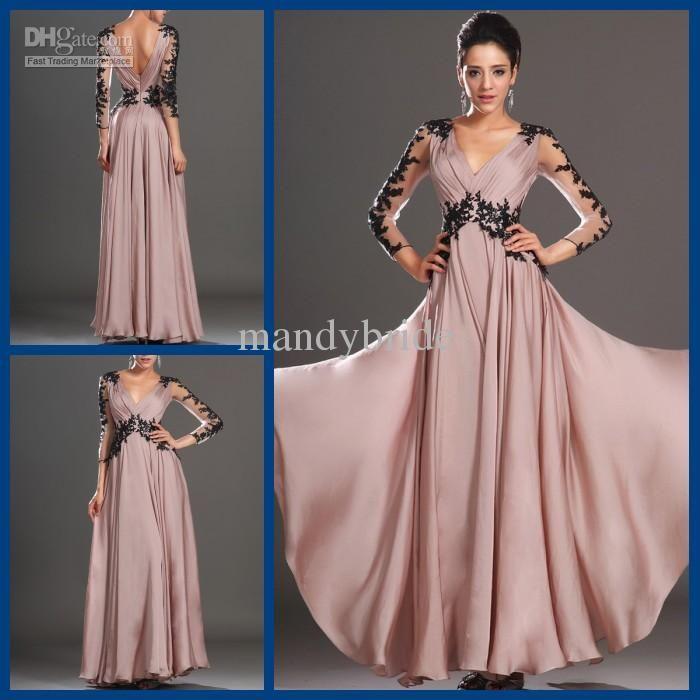 Wholesale Evening Dresses - Buy Elegant V Neck Pleated Appliques Long Sleeves Column Chiffon Floor Length Prom Dresses Evening Gowns K-754, $109.0   DHgate