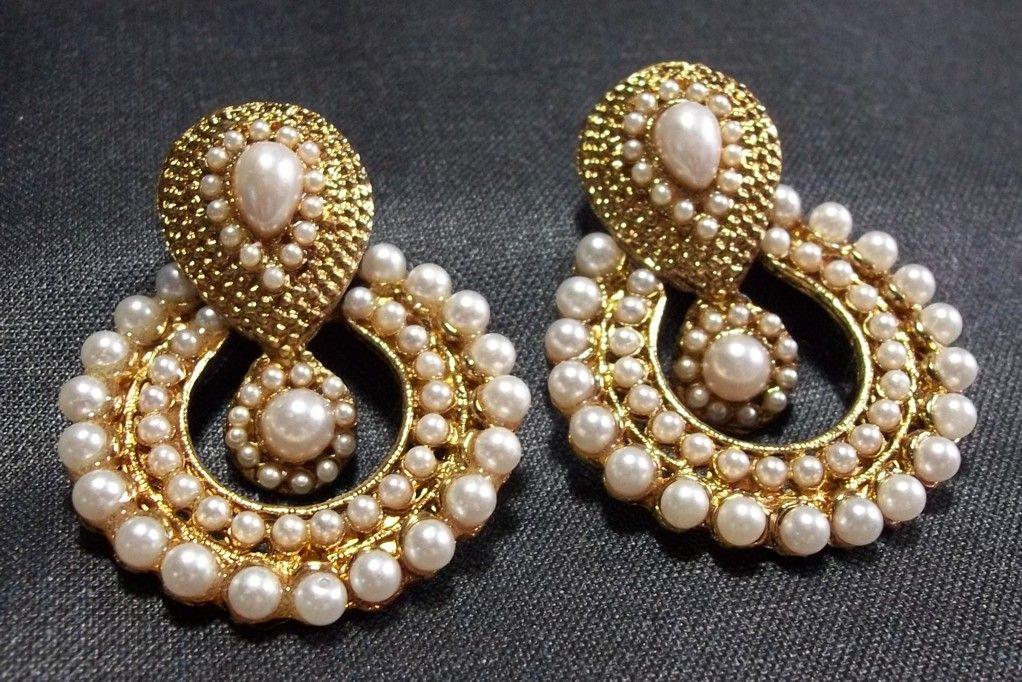 Shop White Pearl Polki Earrings by Shree Mauli Creation online ...