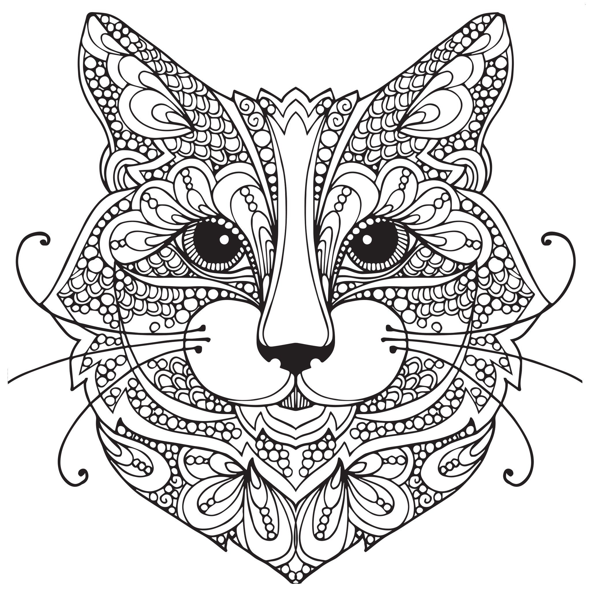Adult Coloring Pages: Cat-1 | mándalas | Cat coloring page ...
