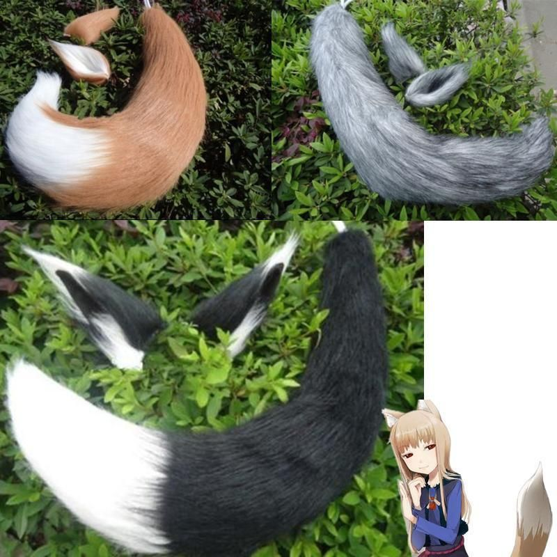 Spice And Wolf Holo Fox Ears Tail Cosplay Props Customes Long Plush Japan Anime