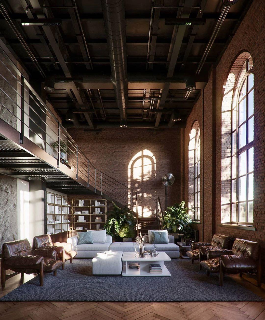 Arch Oskar On Instagram Industrial New York Inspired Penthouse Archoskar The Industrial Penthouse In 2020 Industrial Loft Design Loft Design Architecture Design