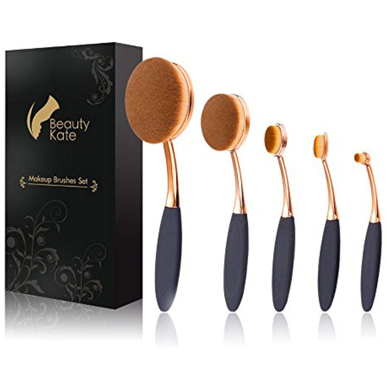 Oval Makeup Brush Set of 5 Pcs Professional Oval