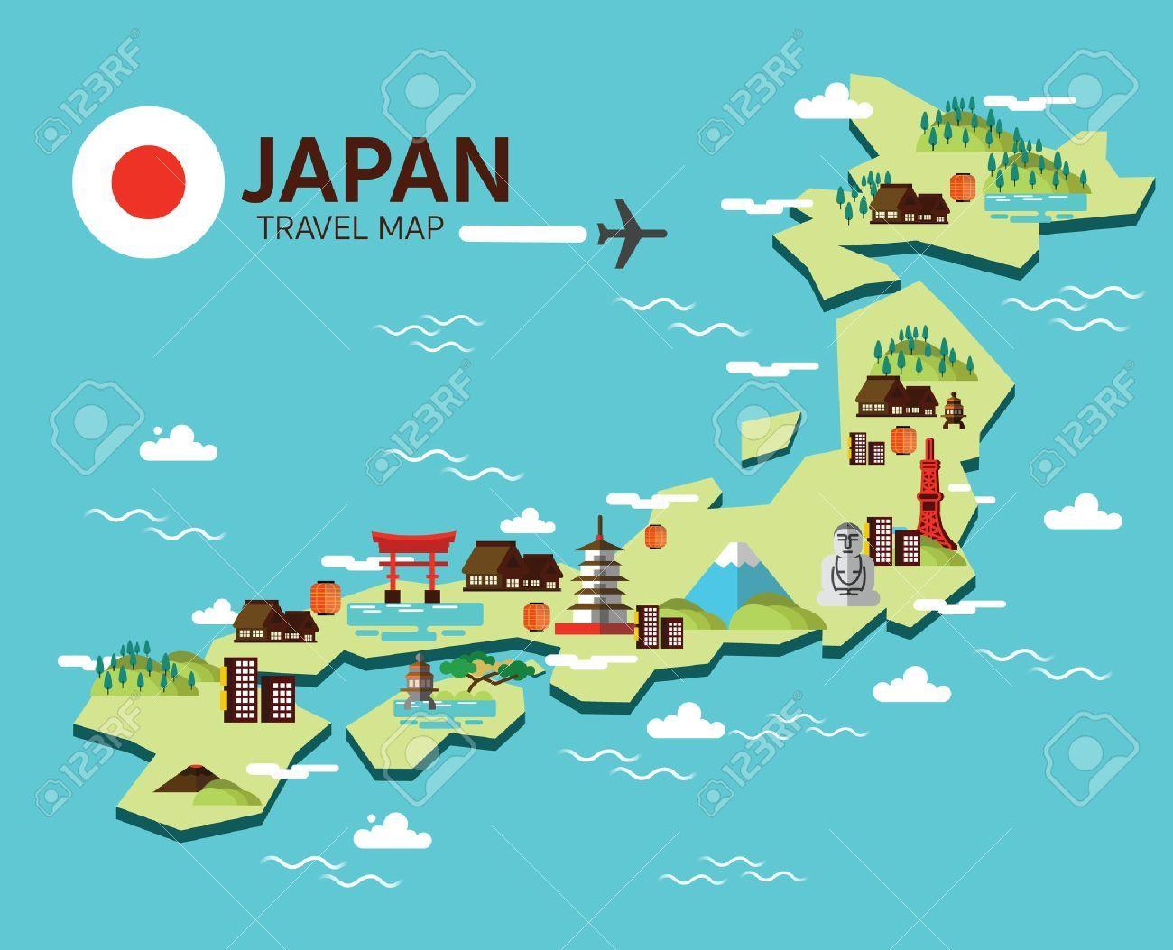 Stock Vector in 2019 | Map | Travel maps, Japan illustration, Japan ...