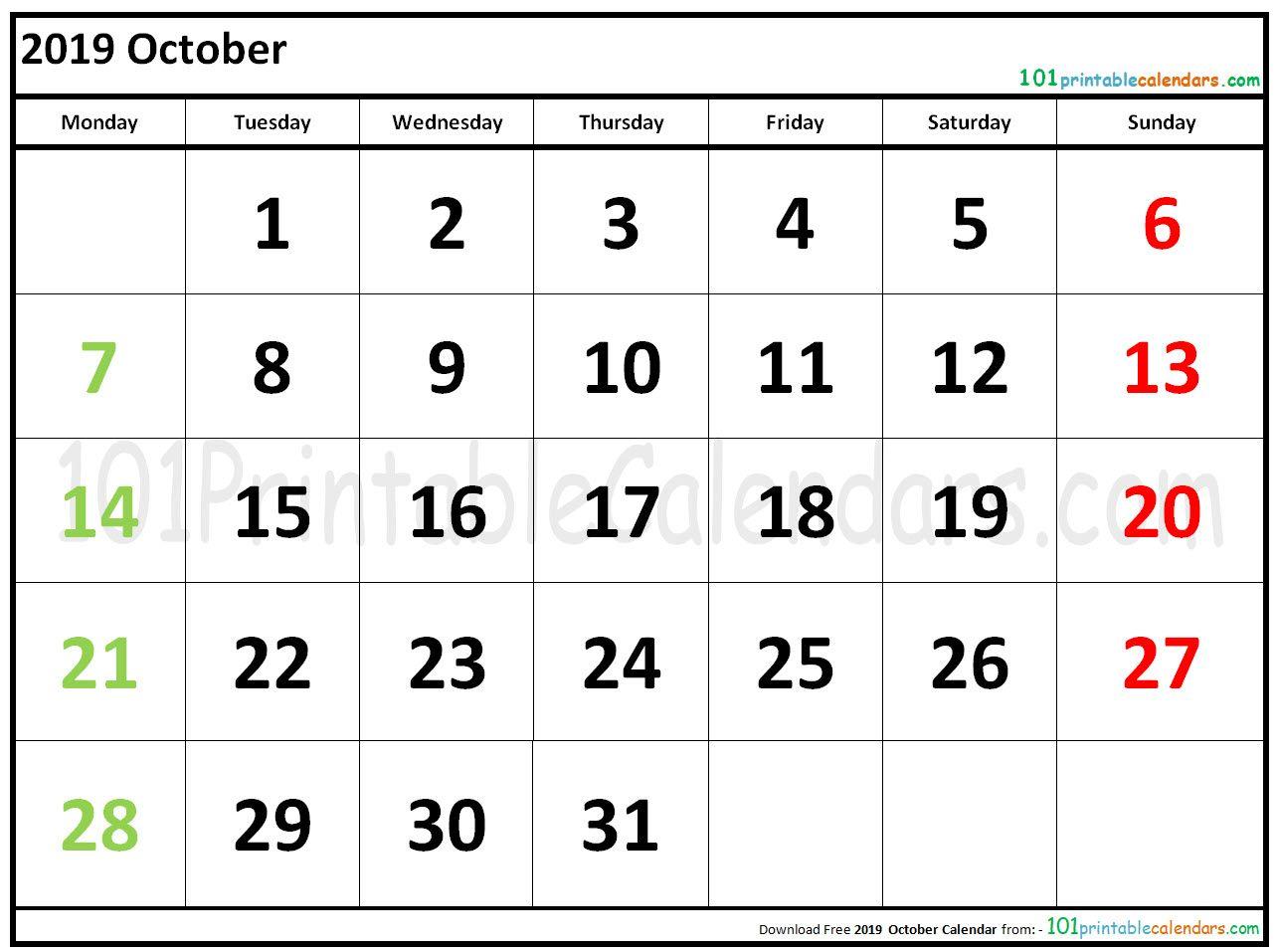 2019 October Calendar October Calendar January Calendar