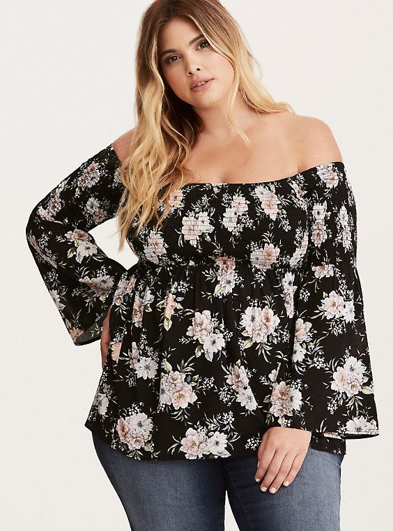 fa4cbb57059a9 Floral Print Smocked Challis Off Shoulder Blouse
