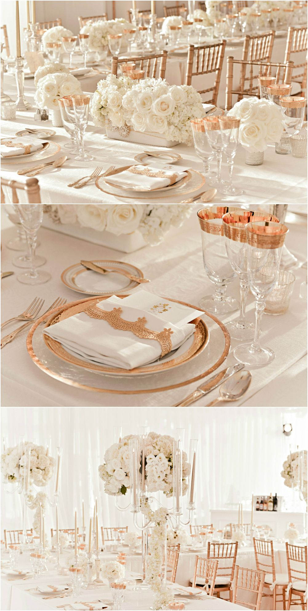 rose gold and ivory wedding reception decor The pic on top with the