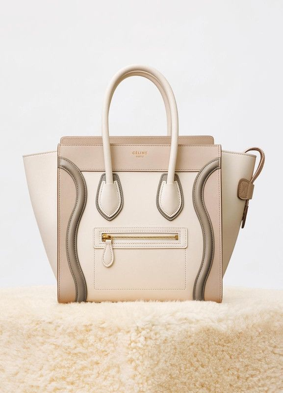 Micro Luggage Handbag In Multicolour Shiny Calfskin Céline